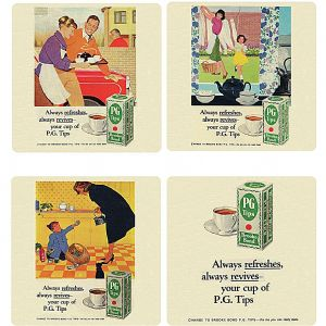 PG Tips Tea set of 4 cork backed drinks coasters   (hb)